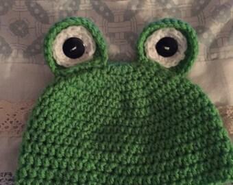 cuties frog crochet hat!
