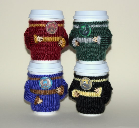 Four coffee cozies set. Witchcraft Wizardry school alumni. Four houses. Buy four pay for three. Travel mug cozy Starbucks cup holder