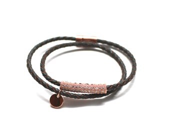 Crystal Leather Wrap Bracelet
