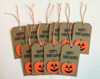 Handmade Set of 10 Halloween Jack-O-Lantern Tags, Scrapbooking, Card Making, Gift Tags