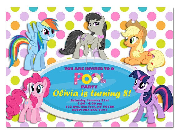 my little pony pool party invitation my little pony birthday, Party invitations