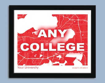 College or University map, any college map, University wall art poster