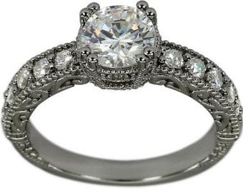 1 Carat Diamond Engagement Rings Art Deco Vintage Style 14k White Gold Ring