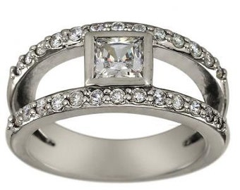 Princess Cut Diamond In Diamond Engagement Ring 3/4ct Princess Diamond 14k Gold
