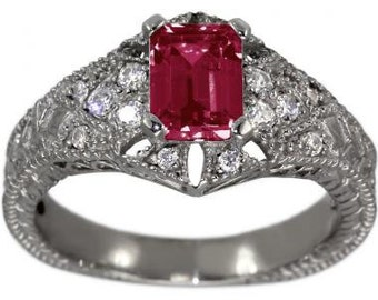 Antique Ruby Diamond Engagement Ring Emerald Cut Ruby