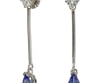 Tanzanite Earring Long Earrings In 14k White Gold Dangling Diamond Earrings