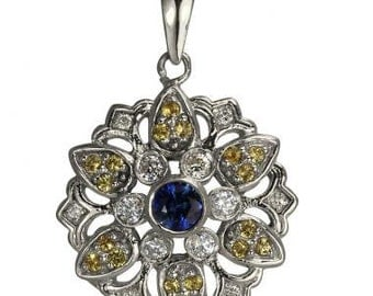 Vintage Flower Pendant With Diamonds And Sapphires 14Kt