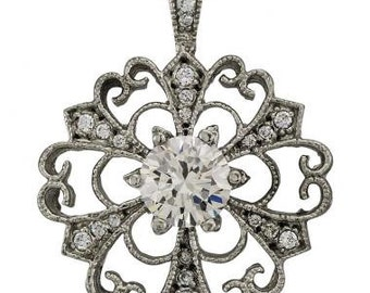 Flower Necklace In 14k White Gold Set With A White Sapphire And Diamond Accents