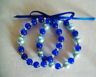 Double Blue and Aqua Glass Beaded Stretch Bracelet