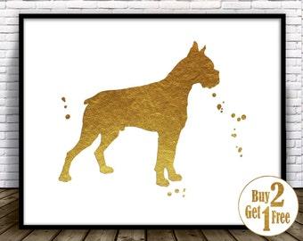Boxer Print, boxer art, boxer poster, boxer dog decor, Gold Foil Art Print, dog wall decor, Nursery Wall Art, Nursery Art dog