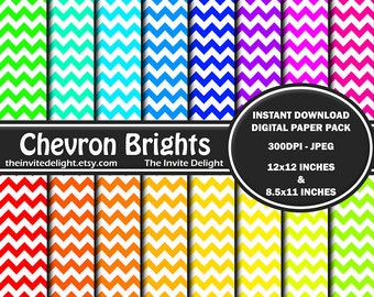 Chevron Brights Digital Paper Pack, Zigzag Patterns, Rainbow Chevron Party Decor Printable, Scrapbooking Paper, Instant Download