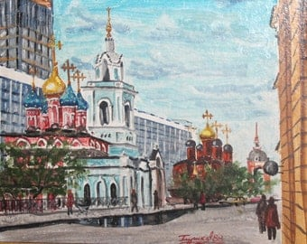 1988 oil Moscow cityscape painting signed