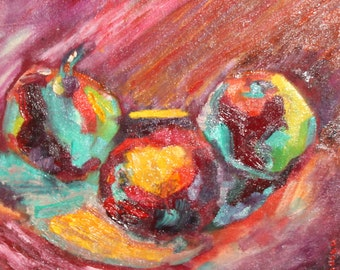 Contemporary still life fruits oil painting signed
