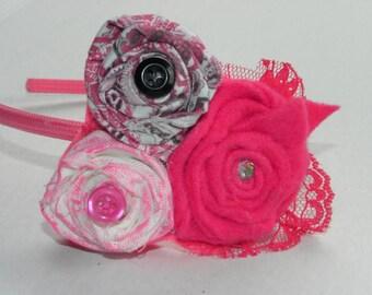 Pink, White, and Black Flower Headband
