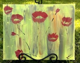Poppy Painting - Poppy Flower Painting - Red Poppy Painting - Green Poppy Painting - Poppy Kisses Painting - Original Red Poppy Wall Hanging