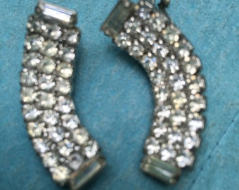 Vintage Rhinestone Clip Earrings Curved Fabulous!