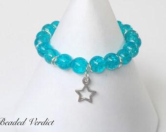Stretchy beaded charm bracelet