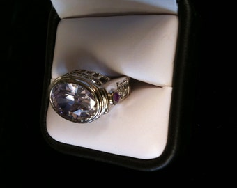 925 St/Silver Ring With Beautiful Amethyst  11.2 gm. Size 7.
