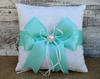 Aqua Blue Ring Bearer Pillow, White/Ivory Ring Pillow - Pearl Rhinestone Accent