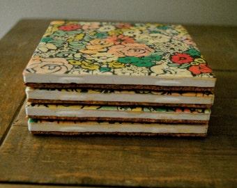 Floral Coasters,Rustic Coasters, Coaster,  Tile Coasters, Coaster Set, Home Decor