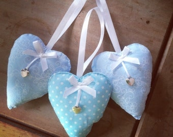 Set Blue Fabric Hearts. Shabby Chic. Home Decor. Living Space. Bedroom decor . Vintage style.