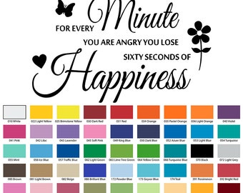 For Every Minute You Are Angry You Lose 60 Seconds Of Happiness Wall Quote