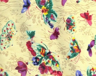 Butterflies and flowers fabric, sold by the yard