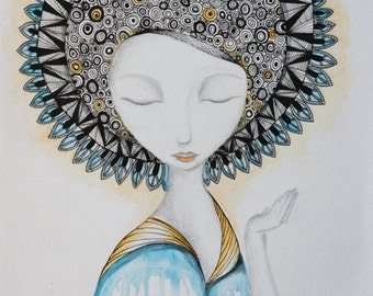 Contemporary Art print, Decorative wall art, Mandala girl, Meditation lady.