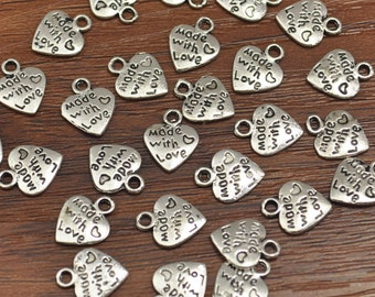 Antique Silver Heart Shape Charms, Heart Shape Pendants(Double Sided) 12 x 10 mm