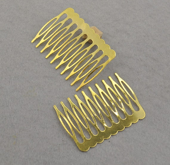 Gold plated metal comb 10pcs metal hair combs 10 teeth for Metal hair combs for crafts