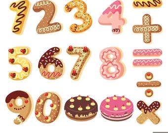 Number Cookies Digital Clipart