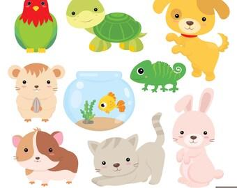 Home Pets Digital Clipart, Dog Clipart, Cat Clipart, Guinea Pig, Hamster