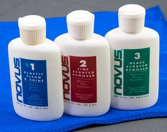 Novus Plastic #1, #2 and #3 Clean And Shine and Scratch Remover Kit 2 Ounce Squeeze Bottles with Microfiber Cleaning Cloth