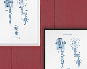 Blueprint, Christmas Gift, Tattoo Gun, Patent Art, Patent Printable, Vintage Tattoo, Tattoo Decor, Home Decor, Wall Decor, Fathers Day