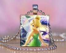 Disney TinkerBell Scrabble Tile Pendant -  Disney Fairy Tinker Bell Necklace Jewelry - Handmade With Scrabble Letter Tile.