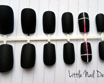 Black Matte gothic Cross hand painted false nails, fake press on