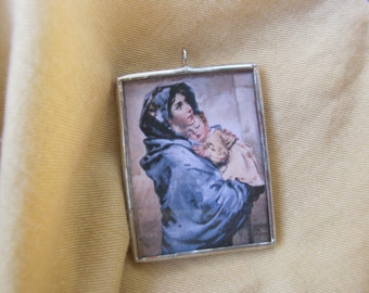 Madonna of the Street - Catholic Art - Glass and Solder Medal - Catholic Gift - Mothers