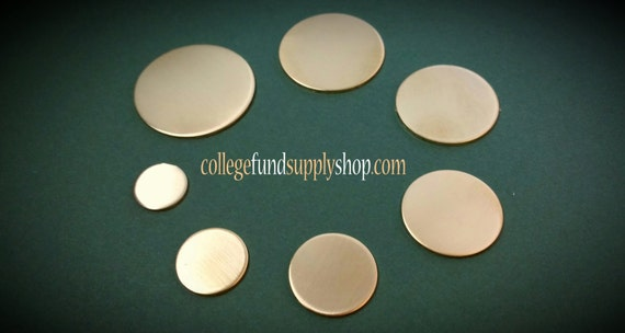 "1"" NUGOLD 18 g. SETS OF 3 stamping discs, 1"" round blank, one inch, disc for etching, metal supply shop, jewelry supply, hand stamping"