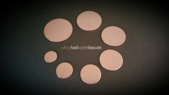 """18g, 1/2"""" COPPER, SETS OF 3 stamping discs,  1/2"""" round blank,  disc for etching, metal supply shop, jewelry supply, hand stamping"""