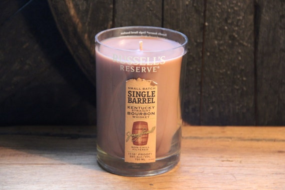 Upcycled Russel's Reserve Whiskey Candle Gift, Gift For Him, Xmas Present For Guy, Gift For Dad, Secret Santa, Gift For Brother, Guy Gift