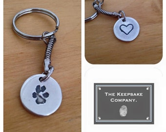 Paw print Keychain, Fingerprint Keychain, Personalised Key Ring. Paw print
