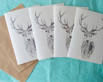 Greetings card - set of six - say hello, thank you, good luck, congratulations - stag drawing design