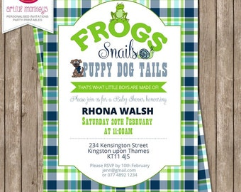 Frogs, Snails & Puppy Dog Tails Baby Shower Invitation