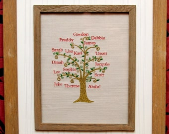 Embroidered Family Tree in frame or on a cushion