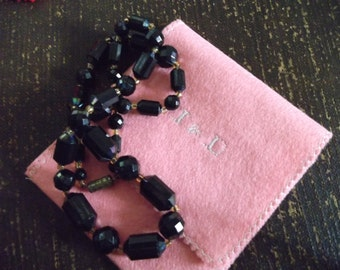 Black faceted beaded necklace