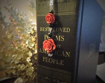 Rose Beaded Metal Bookmark