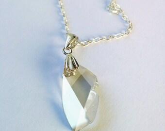 Swarovski Avant Garde Necklace, Sterling Silver, Crystal Silver Shade