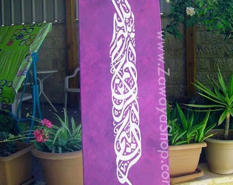 Purple white oil painting on canvas Islamic wall art with Arabic calligraphy