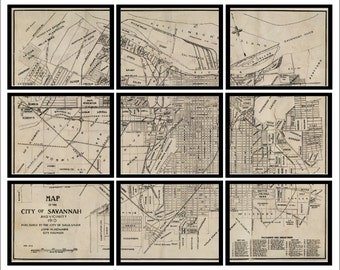 Savannah, Georgia Vintage Map - Set of 9 Prints - Historic Map