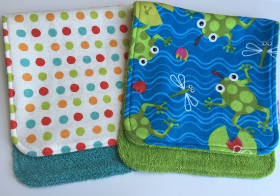 Frogs, Dragonflies and Dots Burp Cloths